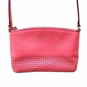 Kate Spade Bright Pink Laser Cut Out Crossbody Bag